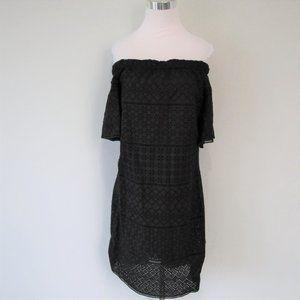 NWT Ralph Lauren Black Off Shoulder Eyelet Dress